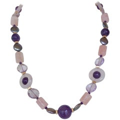Marina J. Amethyst, Rose Quartz, Pink Aquamarine & Pearl Necklace with 14k Gold