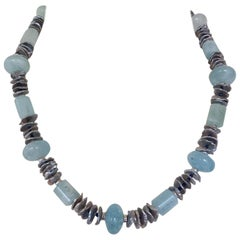 Marina J. Aquamarine Lapis Lazuli Grey Pearl and Silver Beads and Clasp Necklace