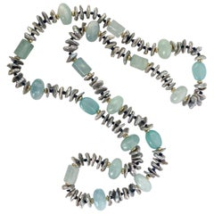 Marina J. Aquamarine, Lapis Lazuli, Grey Pearl & Vermeil Bead Infinity Necklace
