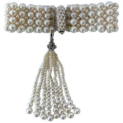 "Marina J. ""Art Deco Style"" Intricately Woven Pearl Bracelet with Tassel"