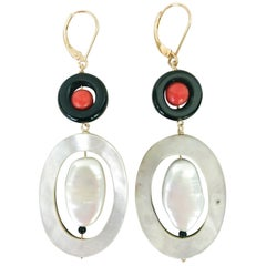 """Marina J. """"Art Deco Style"""" Earrings with Coral, Onyx, Pearl, and 14 Karat Gold"""