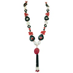 "Marina J. ""Art Deco"" Style Sautoir Necklace with Pearl, Coral, Onyx and Tassel"