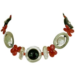 Marina J Art Deco Style Red Coral Pearl Mother of Pearl and Black Onyx Necklace