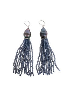 Marina J Baroque Black Pearl & Iolite Bead Tassel Earrings with Silver and Gold
