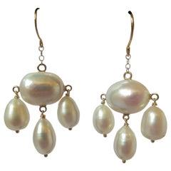 Marina J Baroque Pearl Dangle Earrings with Yellow Gold Findings