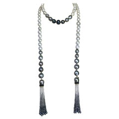 Marina J. Baroque White, Grey and Black Pearl Sautoir with 14 Karat Yellow Gold