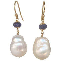 Marina J Baroque White Pearl and Tanzanite Bead Earrings with 14 Karat Gold