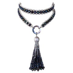 Marina J. Black and White Woven Pearl Sautoir with Abalone Shell & Ombre Tassel