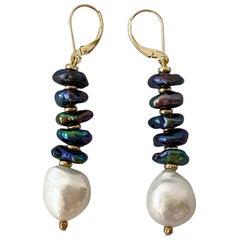 Marina J. Black Irregular Pearl Earrings with White Baroque Pearl