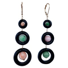 Marina J. Black Onyx & Multi Colored Jade and Coral Dangle Earrings