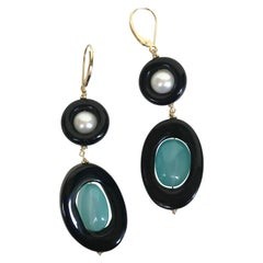 Marina J. Black Onyx Pearl and Fluorite Beads with 14 Karat Yellow Gold Earrings
