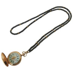 Marina J Black Spinel Woven Rope Necklace with Vintage Watch & 14K Gold Clasp