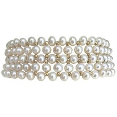Marina J. Bridal Woven White Pearl Choker , Silver Gold Plated Beads and clasp