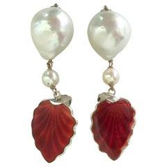 Marina J. Clip-On Pearl Earrings with Vintage Enamel Clips in Silver