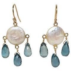 Marina J Coin Pearl, London Blue Topaz Drop Earrings with 14 Karat Gold Hook