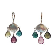 Marina J Coin Shaped Pearl, Multicolored Tourmaline Briolets and 14 Karat Gold