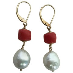 Marina J. Coral and White Pearl Drop Earrings with 14 Karat Gold Lever-Backs