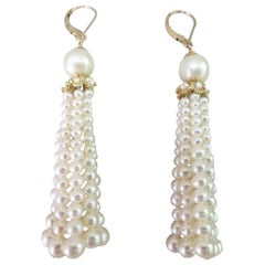 Marina J. Cultured Pearl Tassel Earrings with 14 Karat Yellow Gold Lever-Back