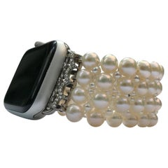 Marina J Custom Made Woven White Pearl Apple Watch Band
