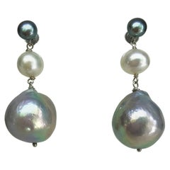 Marina J. Dark Grey, White and Light Grey Pearl Earrings with 14 Karat Gold