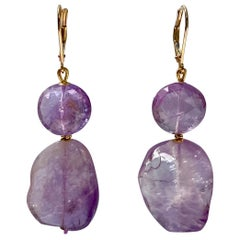 Marina J. Double Amethyst Bead Earrings with 14 Karat Gold Lever-Back and Beads