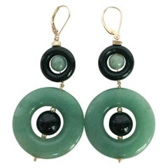 Marina J. Double Jade and Black Onyx Earrings with 14 Karat Gold Lever-Backs