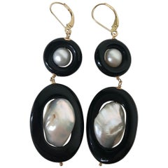 Marina J. Double Onyx and Pearl Earrings with 14 Karat Gold Leverback and Wire