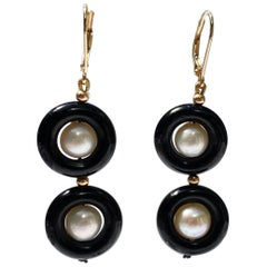 Marina J. Double Onyx and Pearl Earrings with 14 Karat Yellow Gold Lever-Back