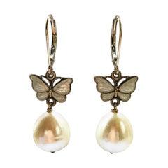 Marina J Drop Pearl, Vintage White Enamel Butterfly and 14 Karat Gold Earrings