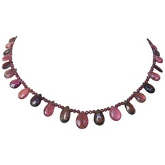 Marina J. Garnet and Multicolored Pink Tourmaline Necklace with Silver Clasp