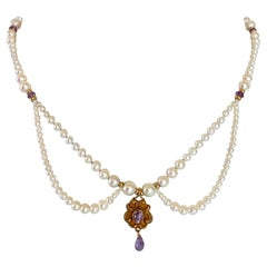 Marina J Graduated Pearl and Amethyst Necklace with 14 K Gold & Vintage Pendant