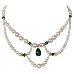 Marina J. Graduated Pearl, Emerald and 14K Victorian Inspired Necklace