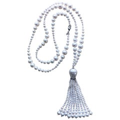 Marina J. Graduated Pearl Sautoir with White Gold & Silver Roundel with Diamonds