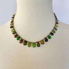 Marina J. Green Tourmaline Necklace with Iridescent Spinel and Silver Clasp