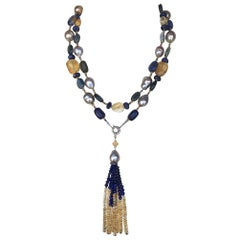 Marina J. Grey Pearl and Semiprecious Stones Sautoir Necklace with 14 Karat Gold