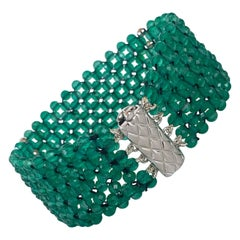 Marina J. Hand Woven Green Onyx beads Bracelet with Rhodium Plated  Silver clasp