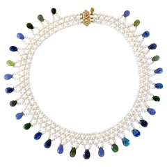 Marina J. Hand Woven Multi Jewel and Pearl Necklace with 14K Yellow Gold
