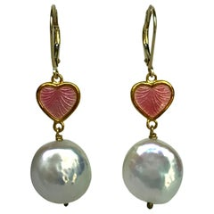 Marina J. Heart Shape Pink Enamel with 14k Yellow Lever-Bag and Wire Earrings