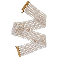 Marina J. Intricately Woven White Seed Pearl Choker with Vermeil Clasp