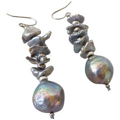 Marina J. Irregular Dangle Earrings with Large Baroque Grey Pearl and 14K Gold