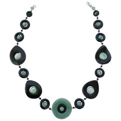 Marina J. Jade and Black Onyx Necklace with Silver Rhodium-Plated Clasp