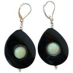 Marina J. Jade and Onyx Drop Earrings with 14 Karat White Gold