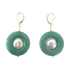 Marina J. Jade and Pearl Dangle Earrings with 14K Yellow Gold Lever Back Hooks