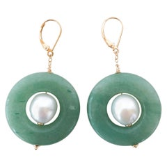 Marina J. Jade and Pearl Earrings with 14 Karat Gold Lever-Backs
