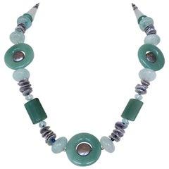 Marina J. Jade, Aquamarine, Lapis Lazuli, Aventurine and Grey Pearl Necklace