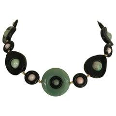 Marina J. Jade, Pink Coral , Black Onyx and 14 Karat Yellow Gold Necklace