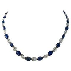 Marina J. Kyanite and Blue Topaz Necklace with 14 Karat White Gold
