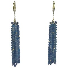 Marina J. Kyanite Tassel Earrings with 14 Karat White Gold Beads, Wiring and Cup