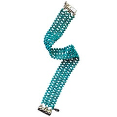 Marina J. Lace-Like Woven Turquoise Bead Bracelet with Sterling Silver Clasp
