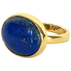 Marina J. Lapis Lazuli Ring with 14 Karat Yellow Gold Band